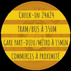 Accueil 24h/24, transports en commun à proximité, commerces proches