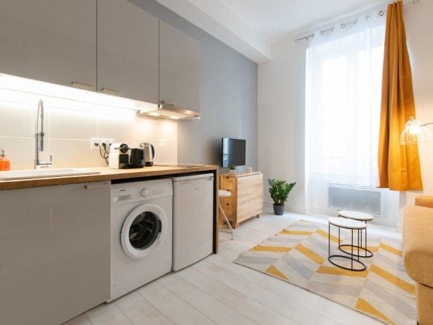 cuisine équipée location courte durée Lyon - machine à laver