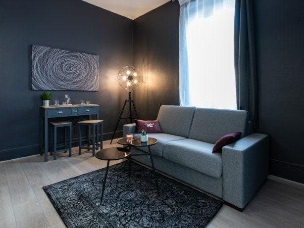 Studio pour 2 personnes meublé à Lyonidéal pour professionnels, décoration contemporaine